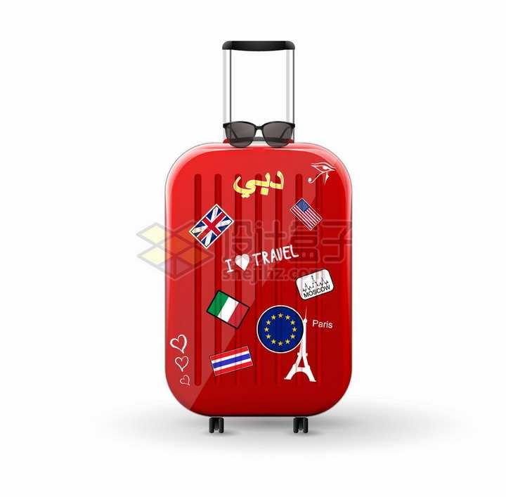 贴满国旗的红色行李箱拉杆旅行箱png图片免抠矢量素材