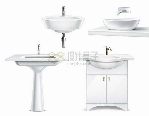 4款白色陶瓷洗手池洗脸盆png图片免抠矢量素材