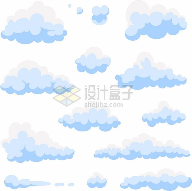 各种蓝白色的卡通云朵图案774298png图片素材