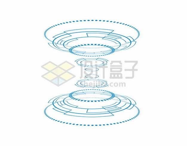 科幻风格蓝色线条上下对称圆环装饰图案698074png图片素材