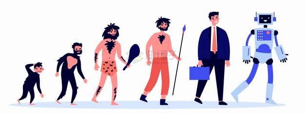人类从猿猴进化成机器人扁平插画png图片素材