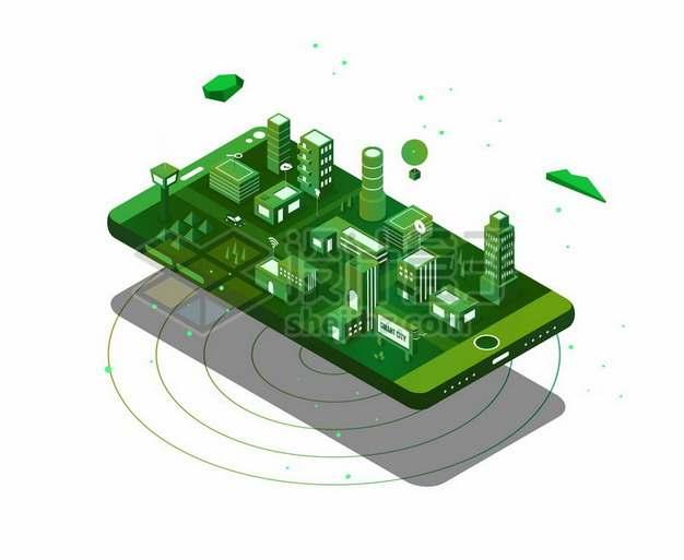 2.5D风格绿色手机上的城市模型136390png矢量图片素材