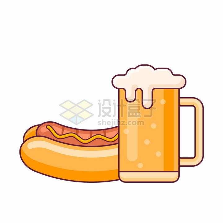 MBE风格卡通啤酒和热狗美味西餐美食png图片免抠矢量素材