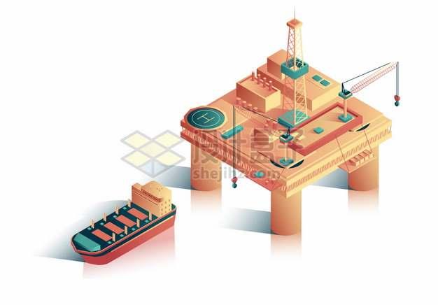 2.5D风格海上钻井平台石油开采和油轮插画png图片素材