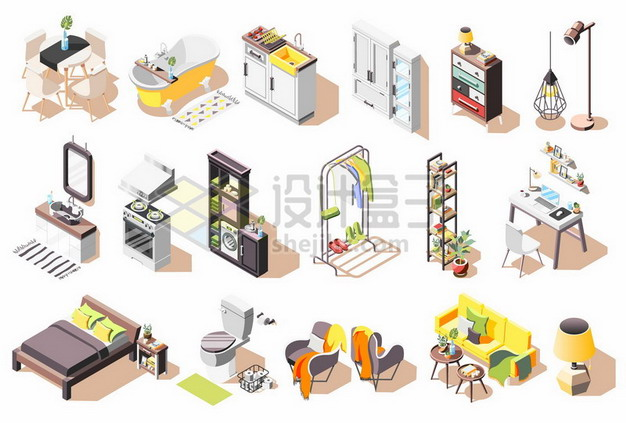 2.5D风格餐桌浴缸洗手池柜子化妆台双人床马桶沙发等家具881365png矢量图片素材 建筑装修-第1张