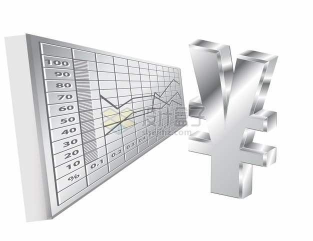银色金属质感人民币符号和货币曲线png图片素材