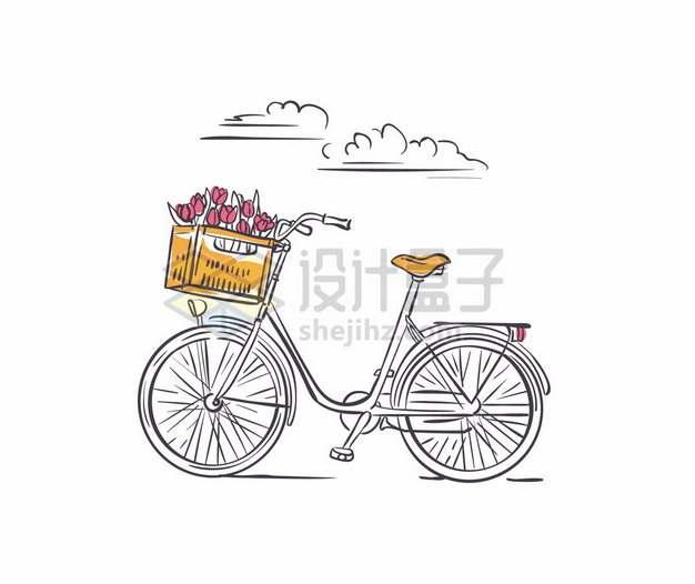 手绘线条风格自行车和车篮中放满了鲜花886830png矢量图片素材