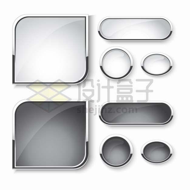各种银色金属边框黑白色玻璃水晶按钮png图片素材
