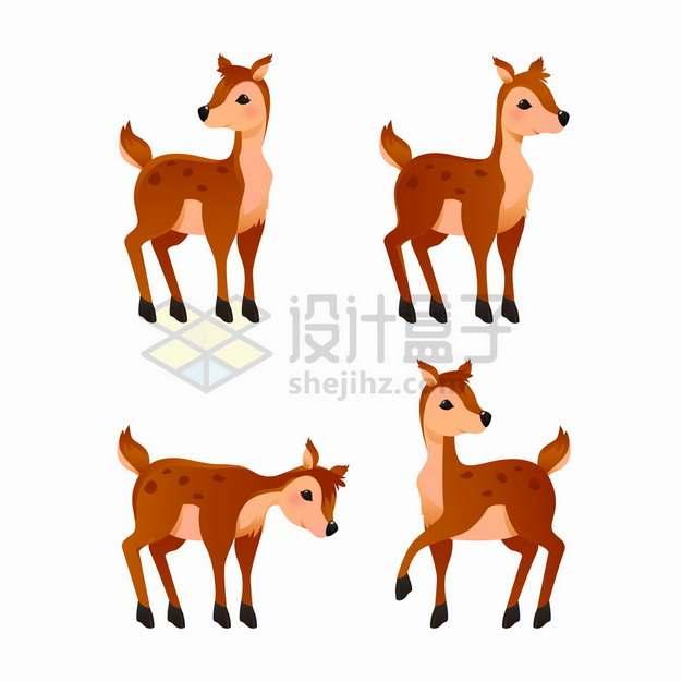 4款可爱的梅花鹿小鹿卡通动物png图片素材