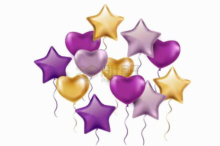 紫色金色五角星形状和心形气球png图片免抠矢量素材