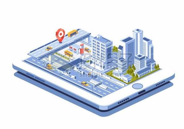 平板电脑上的3D城市模型高架桥高楼大厦马路898075png矢量图片素材