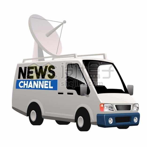 白色的电视台转播车汽车png图片素材