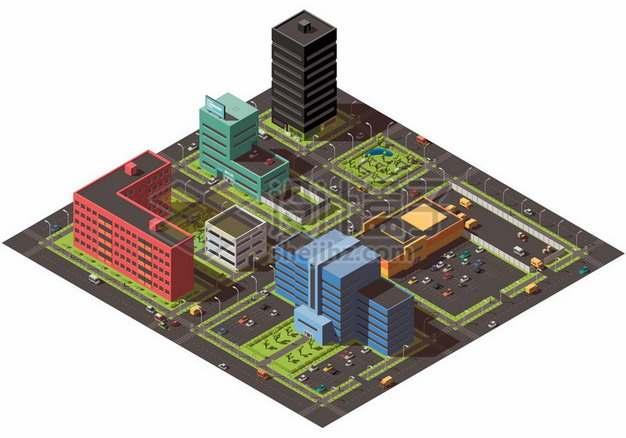 3D城市街道高楼大厦建筑模型357030png矢量图片素材
