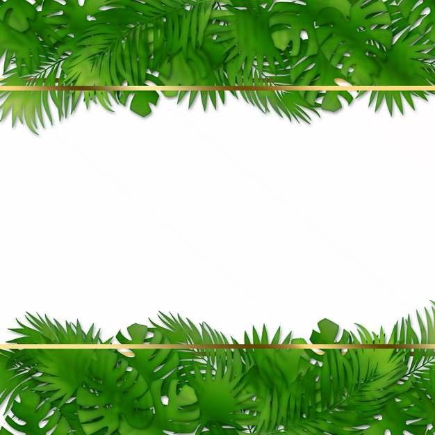 热带绿叶树叶装饰的金色边框751038png图片素材