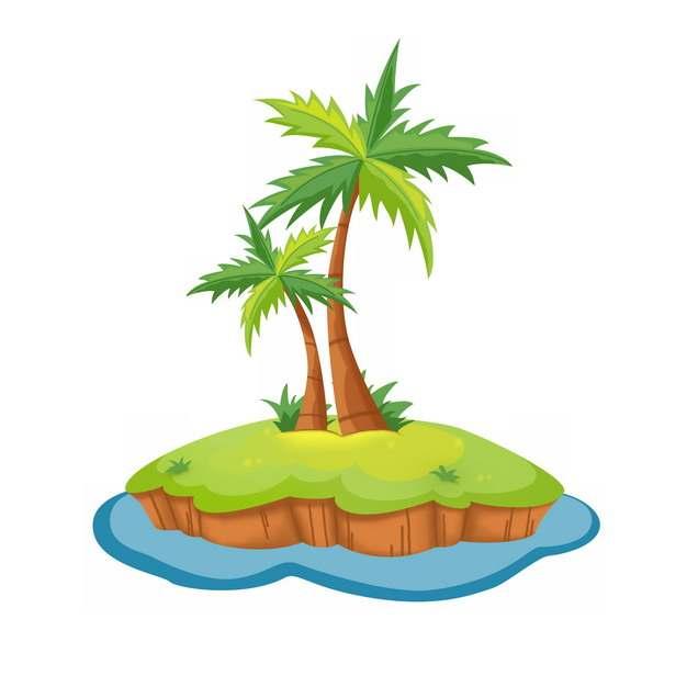卡通热带海岛小岛上的椰子树834810png图片素材