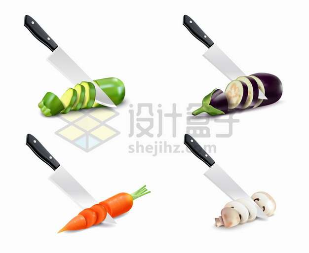4款菜刀和切片的黄瓜茄子胡萝卜蘑菇美味美食png图片素材