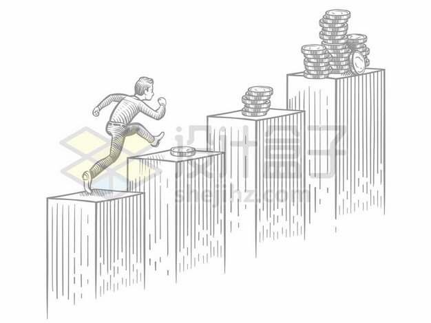 手绘素描男人在放着金钱的台阶上奔跑象征了追逐利益982599png图片素材