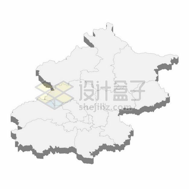 北京市地图3D立体阴影行政划分地图103044png矢量图片素材 科学地理-第1张