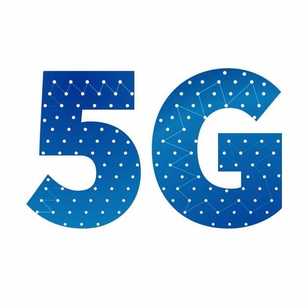 蓝色点线组成的5G字体383544png图片素材