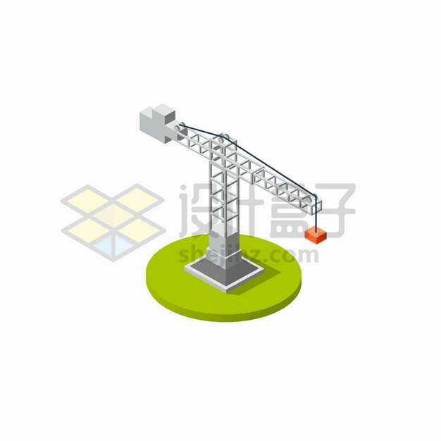 2.5D风格建筑工地上的塔吊起重机png图片素材