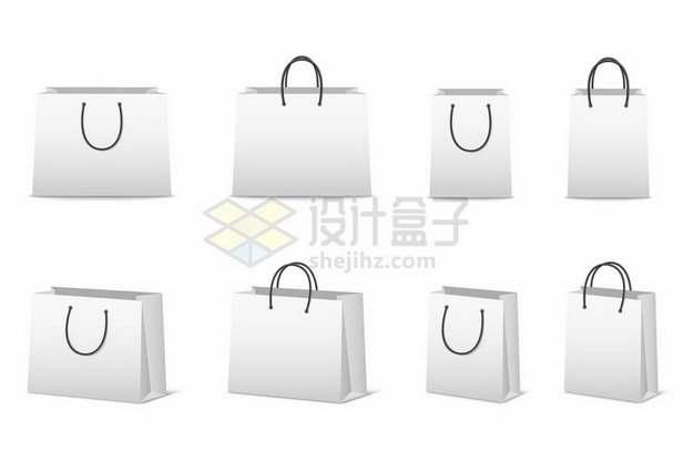 8款白色的购物袋礼品袋纸袋子272535png图片素材