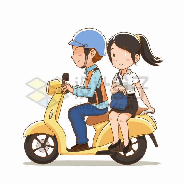 骑电动车摩托车载着女朋友出行卡通插画png图片素材