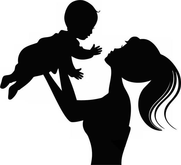 卡通妈妈举着宝宝人物剪影png图片素材972507