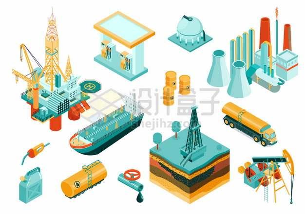 2.5D风格海上钻井平台油轮加油站储油罐油井等石油开采png图片素材