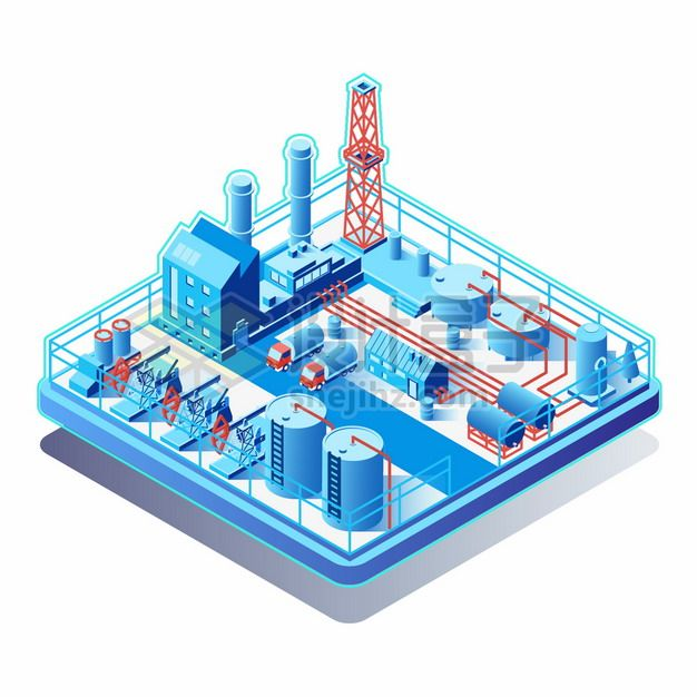 2.5D蓝色石油田石油开采炼油厂化工厂厂房建筑png图片素材