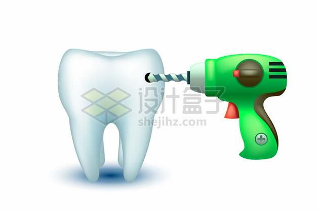 电钻正在对3D立体牙齿进行钻孔415261png矢量图片素材
