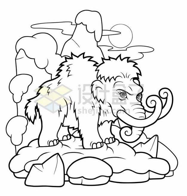 猛犸象线条插画简笔画744370png图片素材