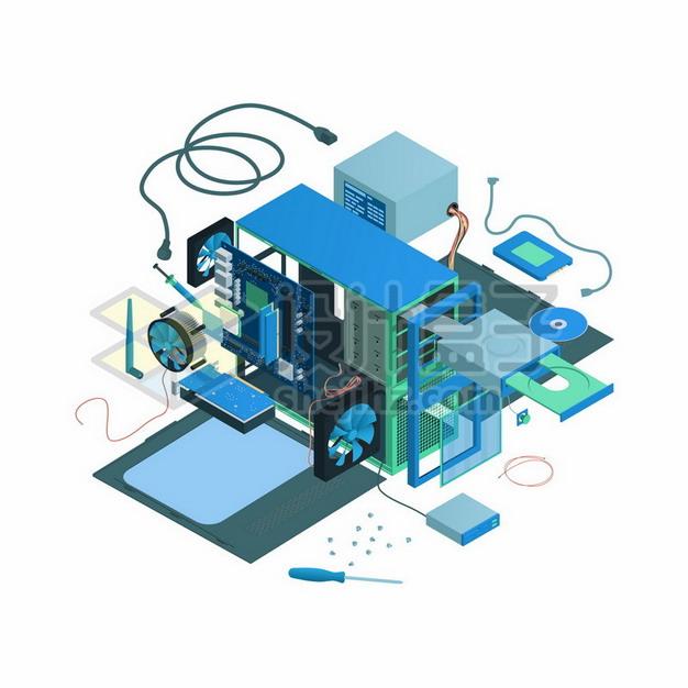分离拆解的电脑机箱和电脑配件703944png矢量图片素材 IT科技-第1张