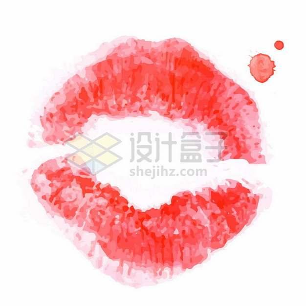 嘴唇印红色水彩画471494png图片素材