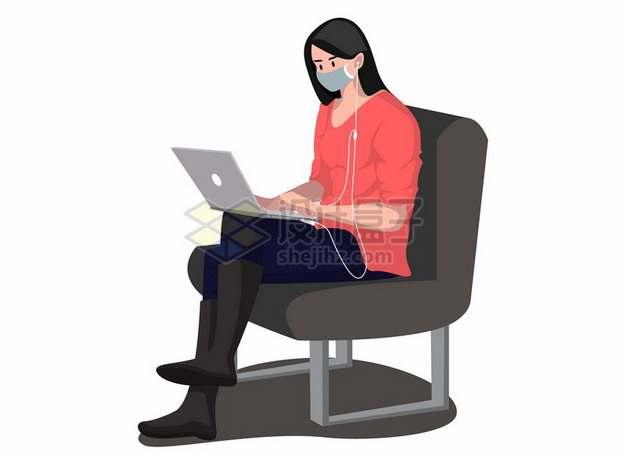 戴口罩的红衣女孩坐在座椅上使用电脑138060png图片素材