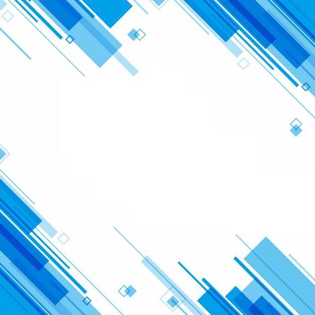 蓝色长方形装饰边框432381png图片素材