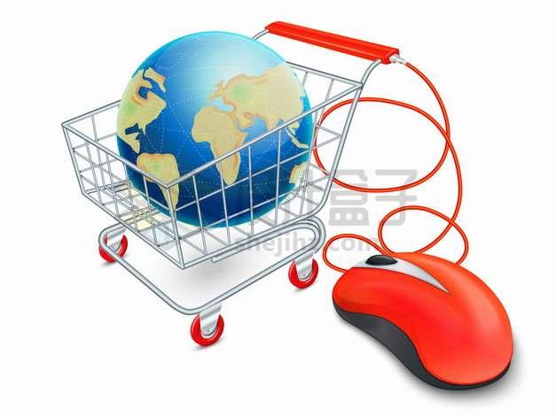 红色鼠标和超市购物车中的地球象征了网络购物png图片素材