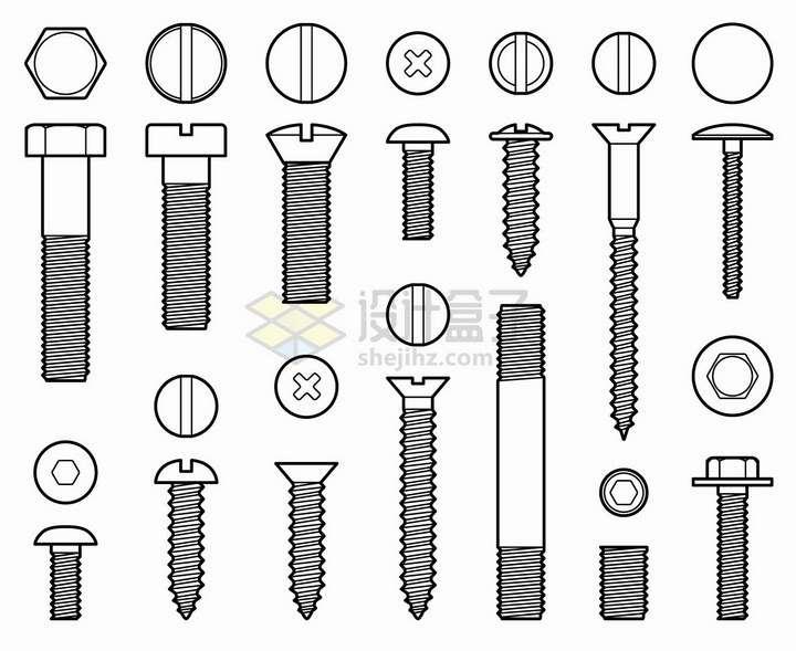 线条风格各种规格的螺丝钉螺栓螺母钉子等png图片免抠矢量素材