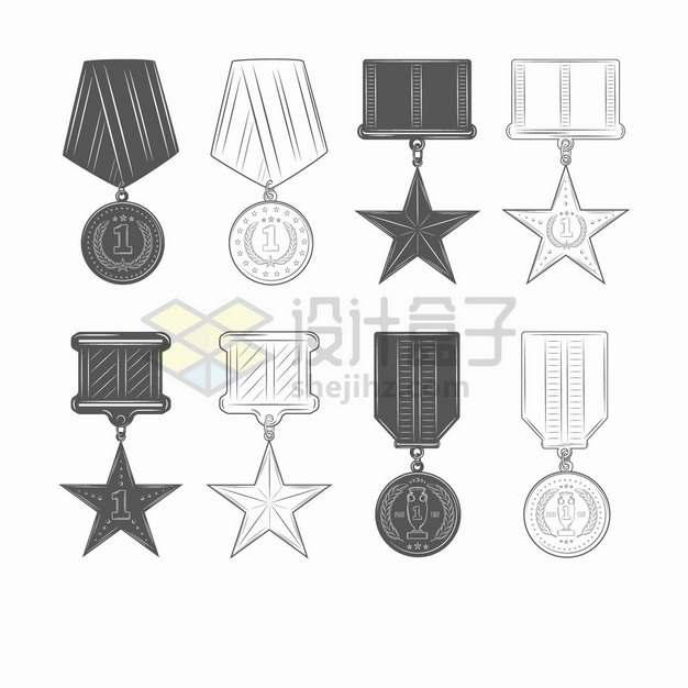8款黑白色的勋章徽章奖牌奖章插画png图片素材
