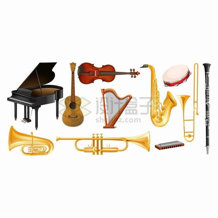 钢琴小提琴圆号萨克斯等西洋乐器png图片免抠矢量素材