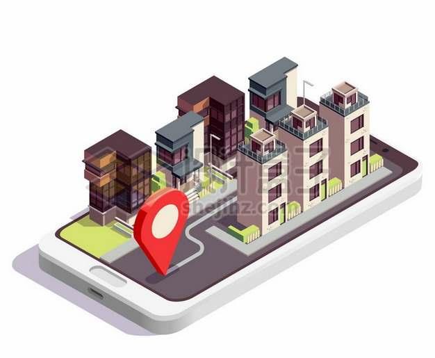 2.5D风格手机上的别墅区小区建筑443657png矢量图片素材