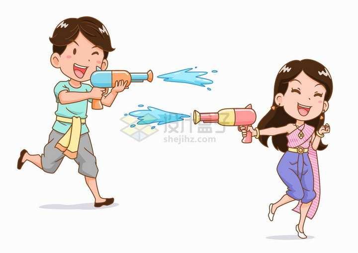 泼水节玩水枪的卡通傣族姑娘小伙少数民族png图片免抠矢量素材