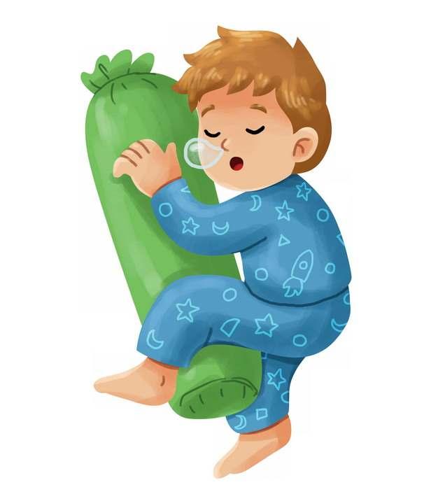 卡通男孩抱着抱枕睡觉312073png图片素材