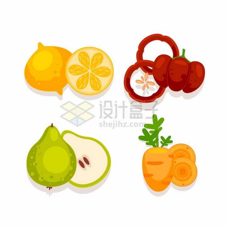 卡通橙子辣椒梨子胡萝卜美味水果蔬菜png图片免抠矢量素材