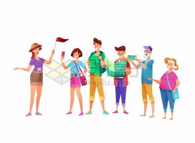 卡通女导游和游玩的游客970210png图片素材