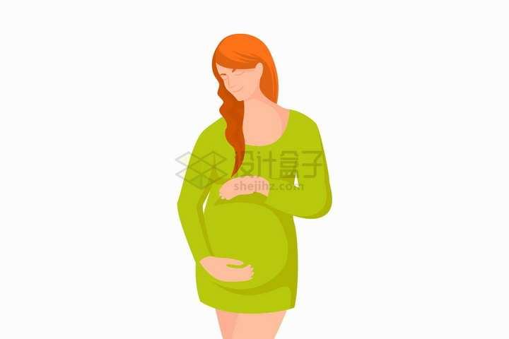 抱着肚子的绿衣服孕妇怀孕的女人正面png图片免抠矢量素材