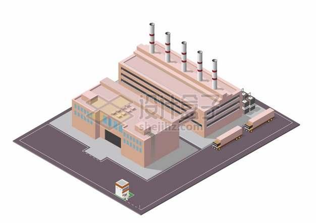 2.5D风格工厂巨大的厂房仓库和运输卡车png图片素材