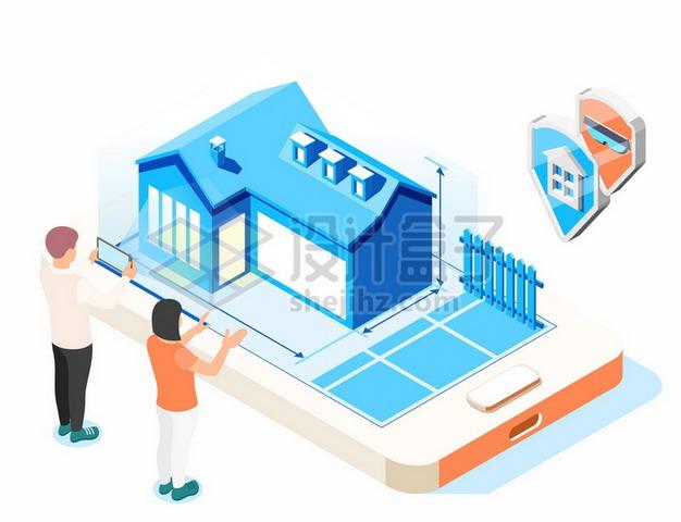 2.5D风格手机上的别墅建设装修蓝图777739png矢量图片素材 建筑装修-第1张