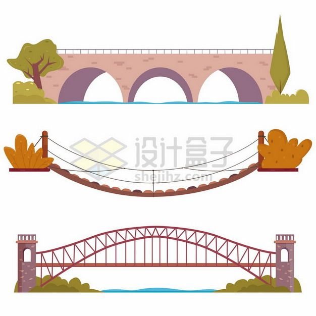 3款卡通桥梁石桥木桥等大桥334280png图片素材