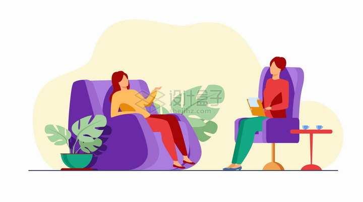 两个坐在按摩沙发上聊天的女人扁平插画png图片免抠矢量素材
