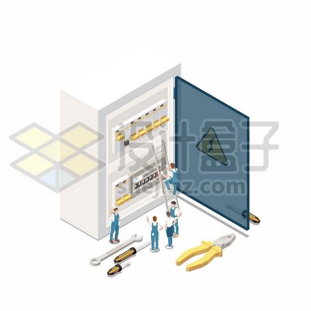 电工正在检查配电箱120495png图片素材